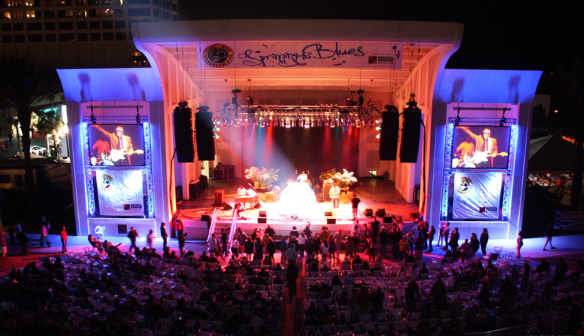 The main Seawalk Pavillion stage lit up in 2013.