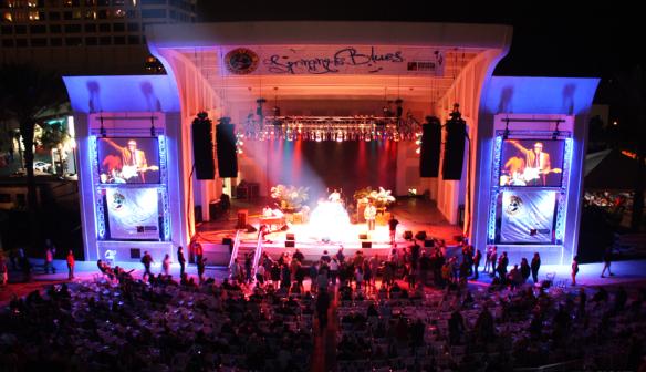 The main Seawalk Pavillion stage lit up in 2013.
