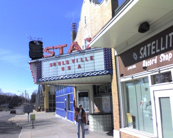 Gebippe at Stax front door, in Otis' footsteps