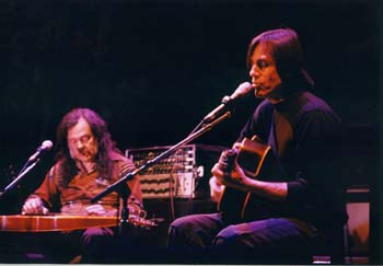 """David Lindley and Jackson Brown, circa 1992 (archive photo necessitated by the Cedar's new """"no photos"""" policy during performances"""