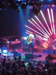 Jim James on the stationary Flying V guitar.